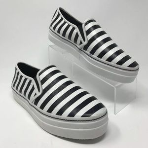 NEW🖤Alice+Olivia Striped Leather Platform Loafers